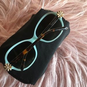 Tiffany and Co Gold Flower Sunglasses teal shades